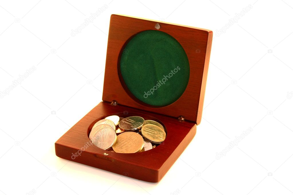 Little wooden box for keeping big money  Stock Photo #8795068