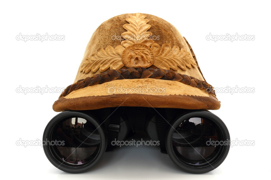 Concept with old hunting hat and binoculars on white background — Stock Photo #9933443