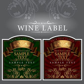 Wine label with a gold ribbon — Stock Vector