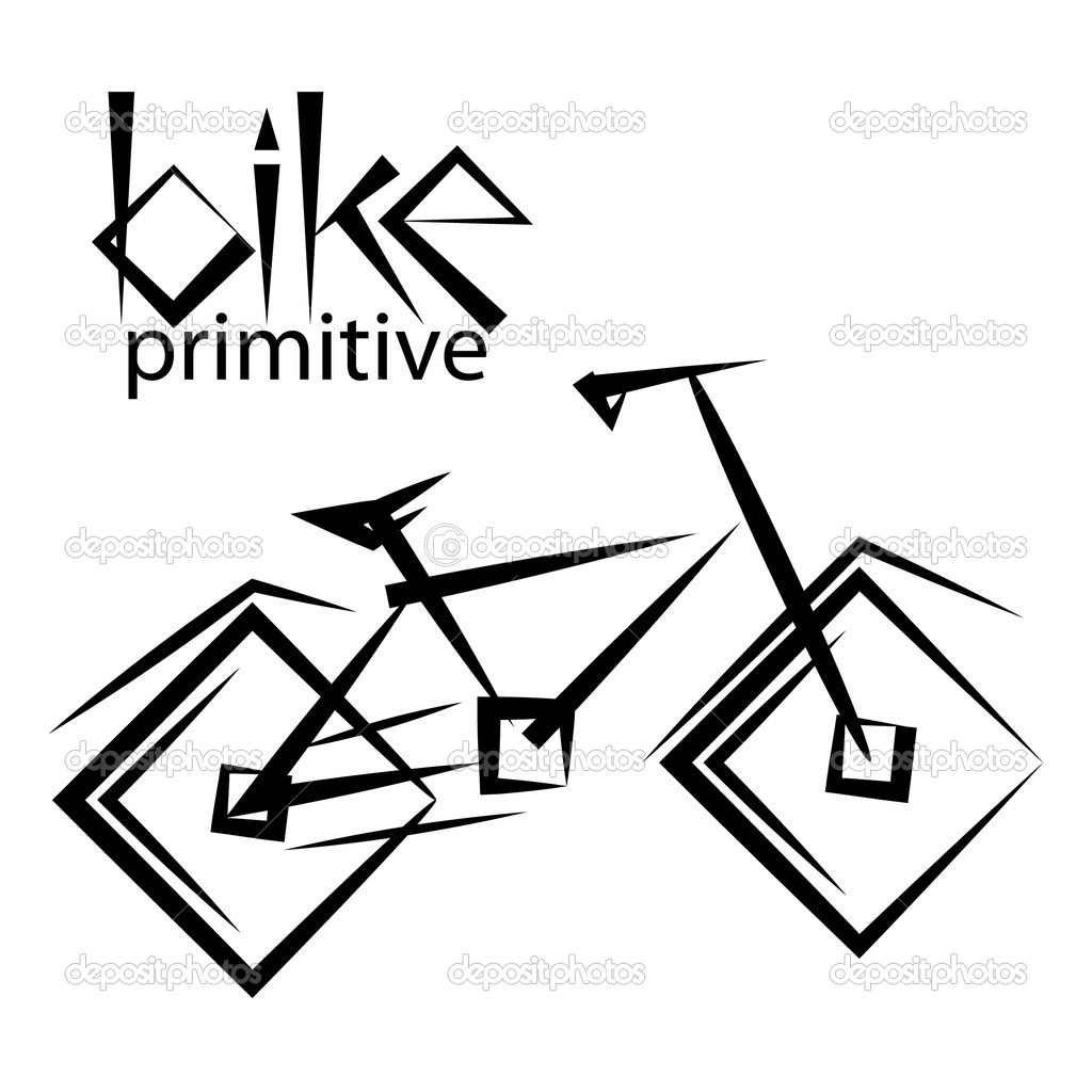 Bike primitive. freehand drawing