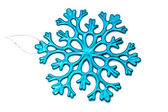 Blue snowflake on a white background — Photo