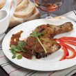 Tasty grilled chicken with pepper sauce — Stock Photo