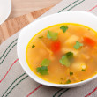 Peas soup in a porcelain plate — Stock Photo #8890870