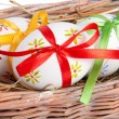 Easter eggs with ribbons — Stock fotografie