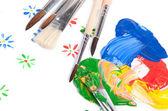 Reihe von bürsten mit bunten farben — Stockfoto