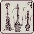 Hookah and jugs - Stock Vector