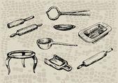 Vintage kitchenware — Stock Vector