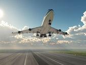 Vliegtuig opstijgen — Stockfoto