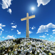 Cross surrounded by flowers — Stock Photo