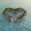 Stock Photo: Aerial view of heart-shaped tropical island