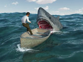 Shark attacks man in a boat — Stock Photo
