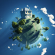 Stock Photo: Private house on small planet