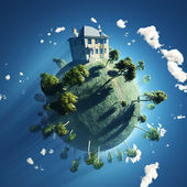 Private house on small planet — Stock Photo
