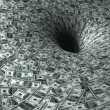 Stock Photo: Dollar flow in black hole