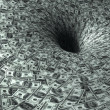 Dollar flow in black hole - Stock Photo