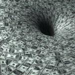Dollar flow in black hole — Stock Photo
