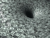 Dollar flow in black hole — Stock Photo