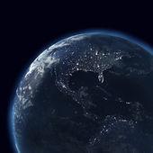 Night globe with city lights, map of america, usa — Stock Photo
