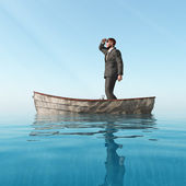 Lost man in a boat — Stock Photo