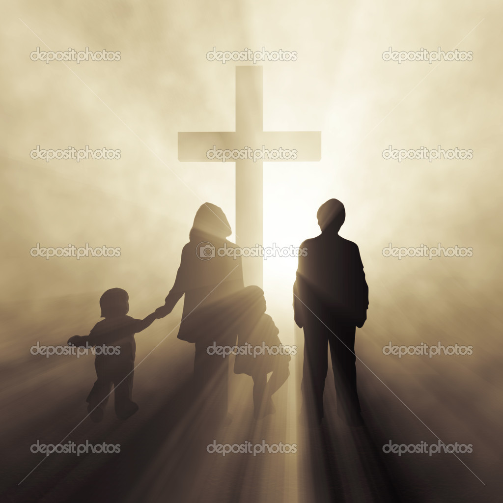 Christian family before a cross  — Stock Photo #8838358