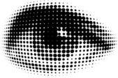 Human eyes in dots — Stock Vector