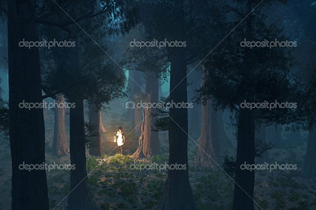 Фотообои Lost woman in the deep forest