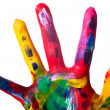A colorful hand close — Foto Stock