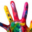 A colorful hand close — Stockfoto