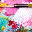 Color palette with brush — 图库照片 #8811449