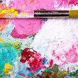 Color palette with brush — Foto Stock #8811449