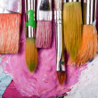 Color palette with many brushes — Photo