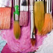 Color palette with many brushes — Stok fotoğraf