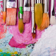 Color palette with many brushes — Stock Photo
