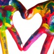 Stock Photo: Two colorful hands forming heart V1