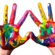 Two colorful hands forming heart V2 — Stockfoto #8811695