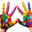 Stock Photo: Two colorful hands forming heart V2