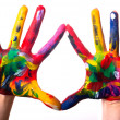 Two colorful hands V2 — Stock Photo