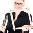 Young woman with house symbol and champagne glass — Stock Photo