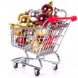 Stock Photo: Shopping cart with Christmas balls