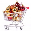 Shopping cart with Christmas balls — Stockfoto