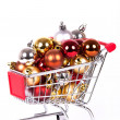 Shopping cart with Christmas balls — Foto de Stock