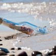 Stock Photo: Message in a bottle euronotes