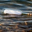 Message in bottle in water — Foto de stock #8812623