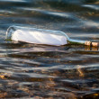 Message in bottle in water — Stockfoto #8812623