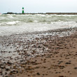 Beach in front of lighthouses — Stok fotoğraf