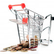 Shopping Cart V4 with coins — Foto Stock