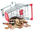 Shopping Cart V1 with coins — Stockfoto