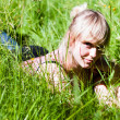 V4 young womin grass — Stock Photo #8814255