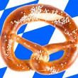 Pretzel with Bavarian Flag — Stock Photo