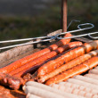 Many sausages on the grill — Stok fotoğraf